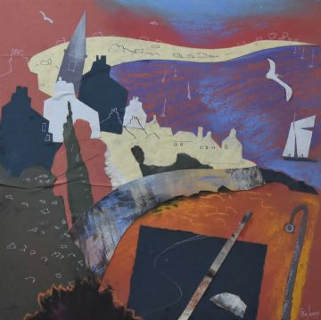 Steve Slimm Original Mixed Media Painting And Collage Cornish Harbour
